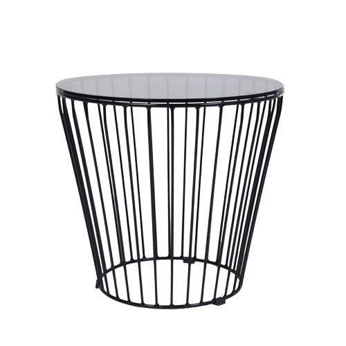 Round Cage Coffee Table 500mm Dia With Glass Top