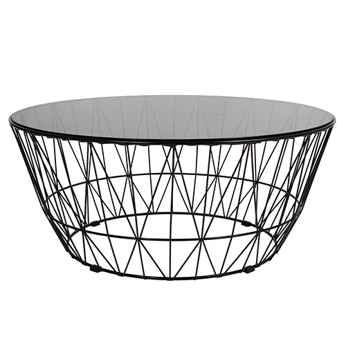 Round Cage Coffee Table 900mm Dia With Glass Top